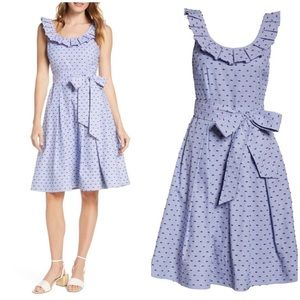 1901 Stripe Pleat Collar Clip-Dot Fit and Flare